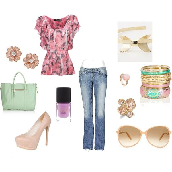 Everyonce in awhile I feel this girly ...Floral Pink, created by bellarinabunny on Polyvore
