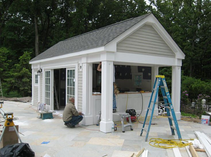 Pool House  Front Is Sliding Glass Doors With Pergola Built Off Of It  Facing The Pool. Side Facing Yard Is Bar