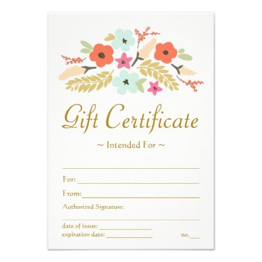 Flower Bouquet Printed Gift Certificate Template   Click To Personalize  Personalized Gift Certificates Template Free