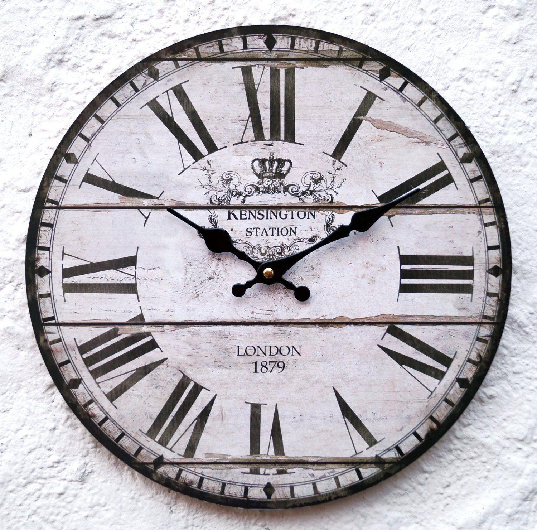 Uhr Wanduhr Weiss Schwarz Antik Nostalgie Shabby Landhausstil Xl