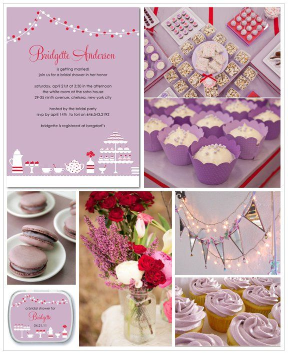 Mood Board Lavender Wedding Decoration: Lavender And Red Theme For A Bridal Shower