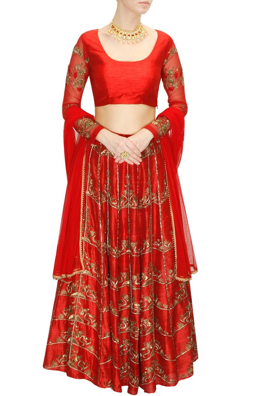 INTRODUCING Chilli red antique gold embroidered lehenga set by