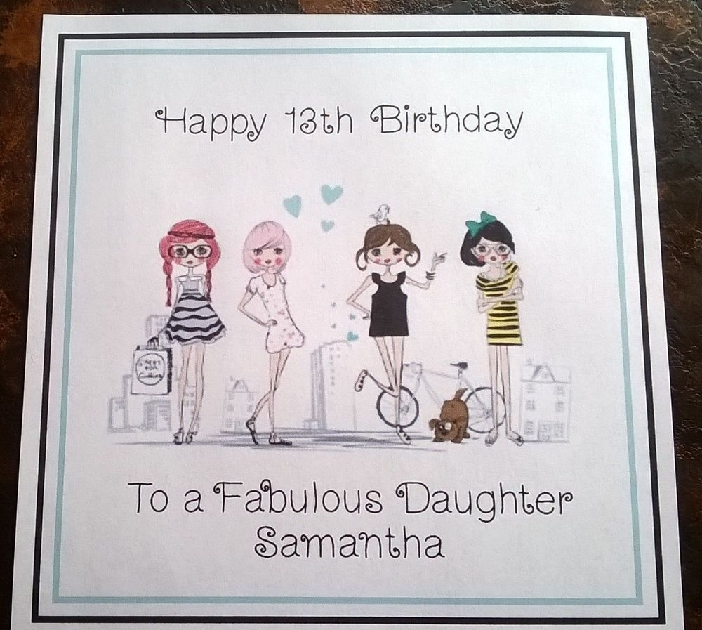 Handmade Personalised Birthday Card Any Age Girl Daughter Cousin