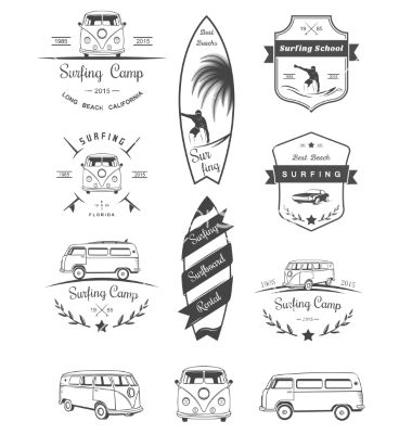 Badges And Logos Surfing Vector Art Download Badge Vectors 4666702 Tatouage De Surf Logo De Surf Dessin Surf