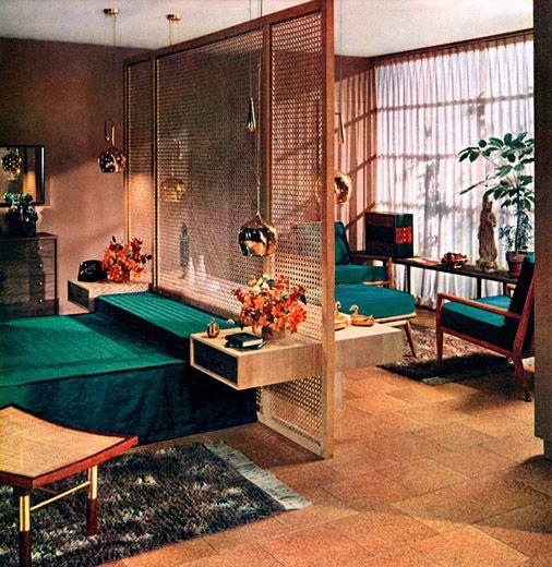 Midcentury modern bedroom room divider wood 70s 60s