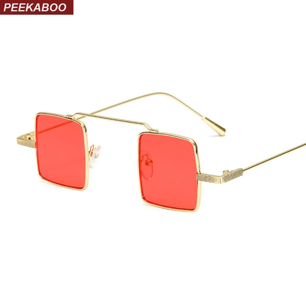 a26c9f6907 Peekaboo european small square sunglasses men retro metal frame pink yellow  blue red vintage sun glasses for women uv400
