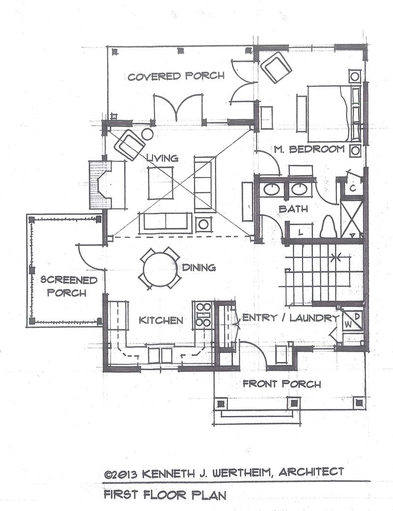 The blue mist cabin a small timber frame home plan for Small post and beam house plans