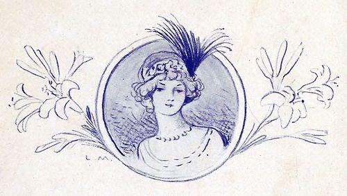oldbookillustrations:  Lucien Métivet, vignette from Nos petits coeurs (Our sweethearts), by Michel Provins, Paris, 1900.  (Source: archive.org)