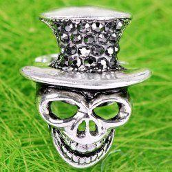 Grey Crystal Skull Cool Fashion Finger Ring Size Us9 1piece [jrg010302] - £1.75