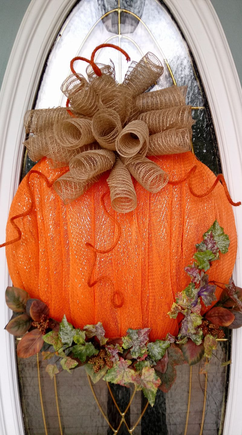 Deco Mesh Pumpkin Door Wreath Fall decor diy, Fall mesh