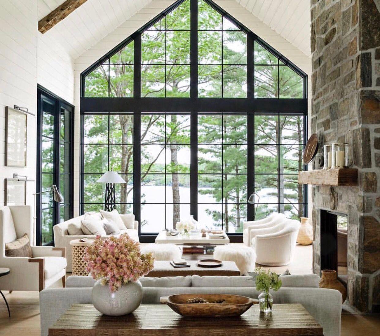 Perfekt Stahlfenster, Fenster Und Türen, Riesige Fenster, Haus Stile, Wohnräume,  Wohnzimmer Stile, Kleiner Lebensraum, Moderne Wohnzimmer, Landschaftsbau