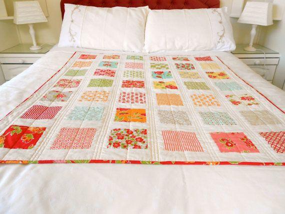 Lap quilt, patchwork, spring quilt, bright colours