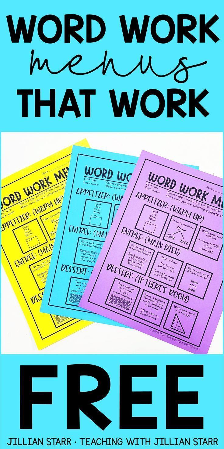 Word Work Menus That Work- Strategic Spelling Activities - Teaching with Jillian Starr