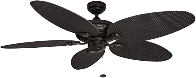 Honeywell Duvall 52 Inch Tropical Ceiling Fan With Five Wet Rated Wicker Blades Indoor Outdoor Rated B In 2020 Tropical Ceiling Fans Ceiling Fan Outdoor Ceiling Fans
