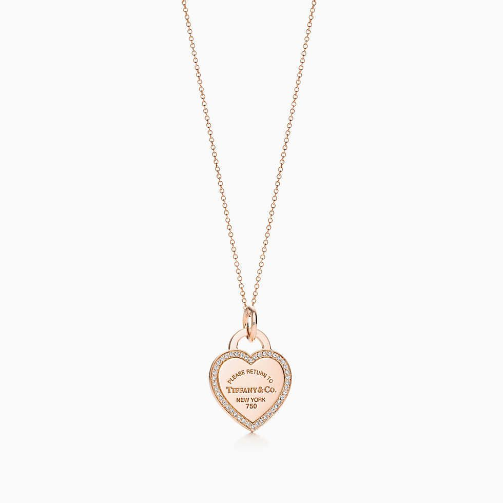 3fa903d5e Return to Tiffany® mini double heart tag pendant in 18k rose gold with  diamonds.