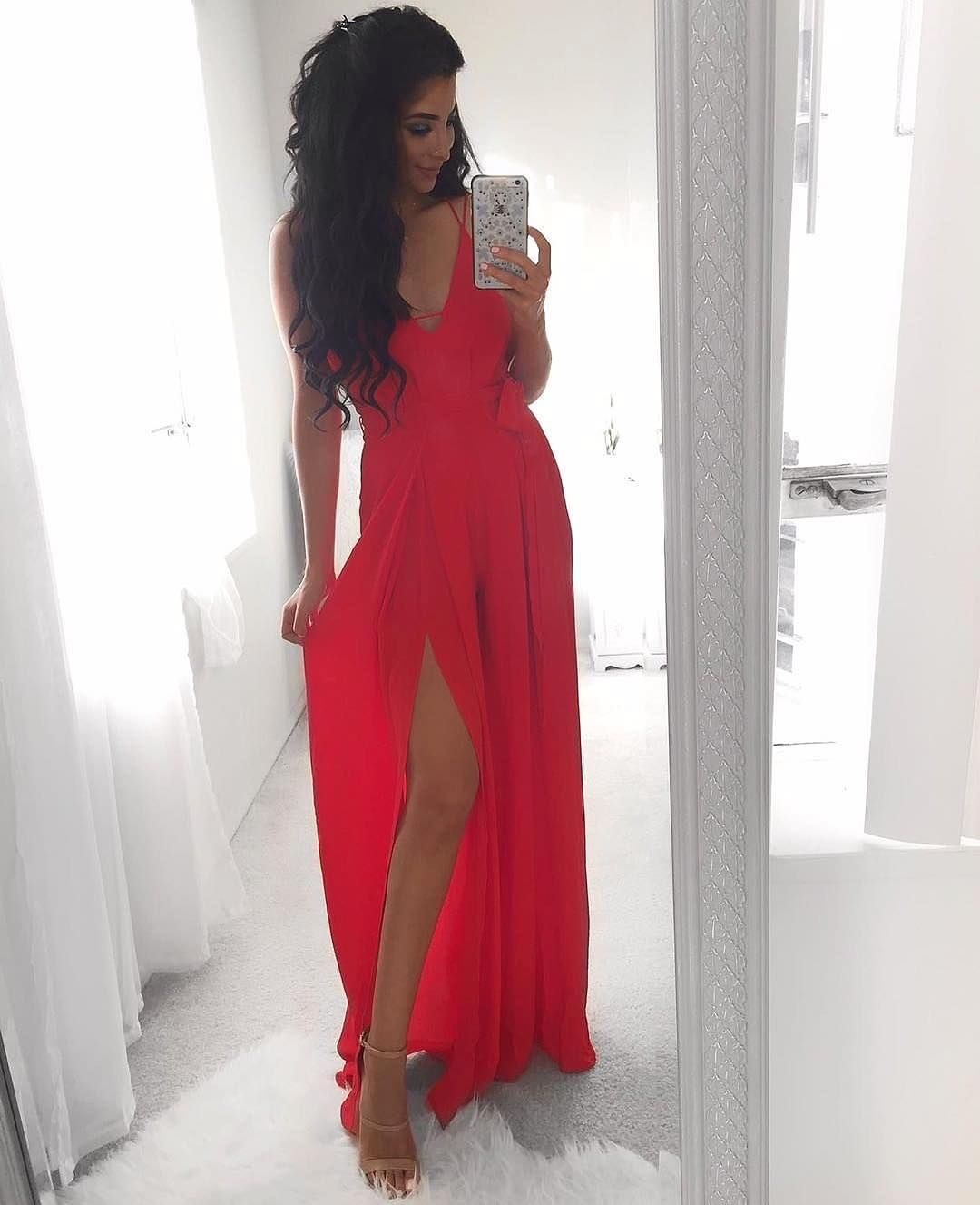 Donna Red Wide Leg Slit Jumpsuit Restocked Worn Here By Elwa__