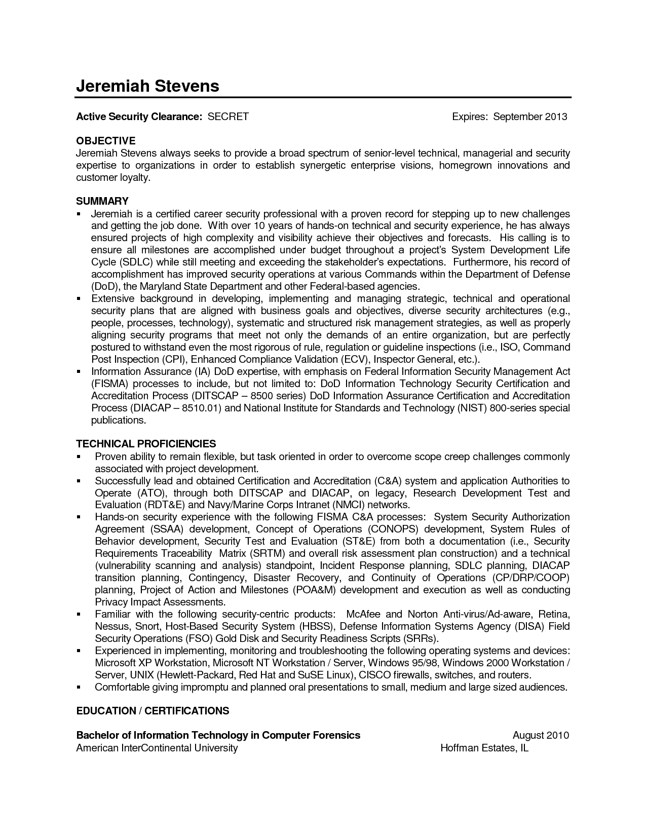 Information Technology Resume For Federal Job
