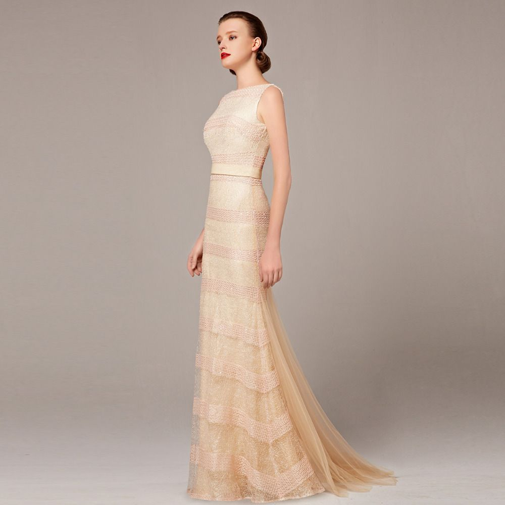 Coniefox latest mermaid beige prom long dress special