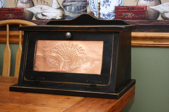 Bread Box Shabby Chic Punched Copper Wood by RedBudPrimitives, $122.44