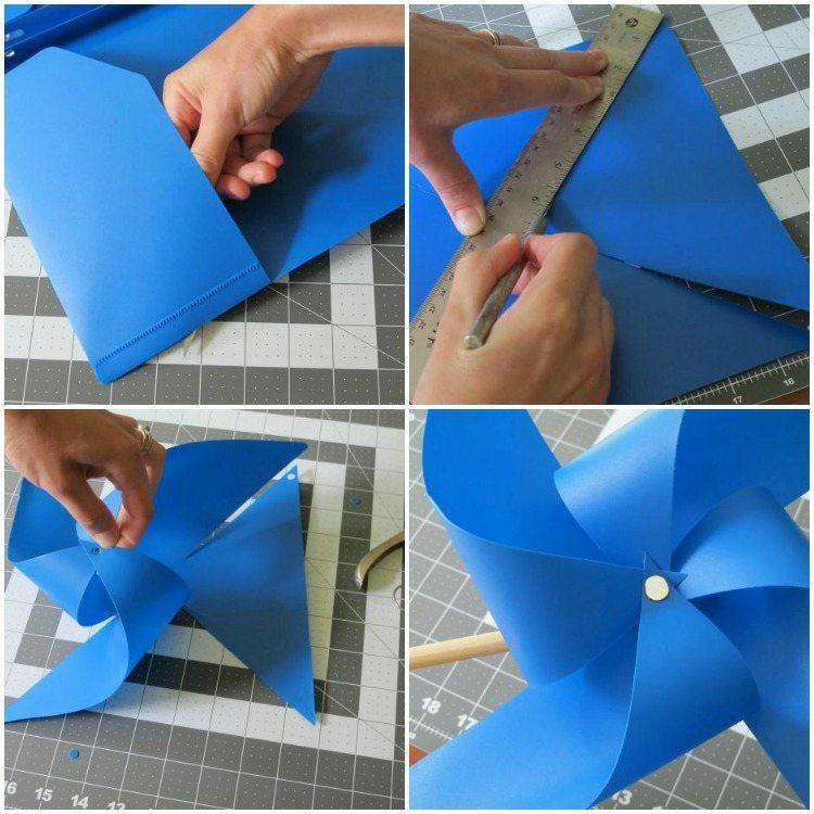 plastikmappe wird zu einem windrad anleitung diy garten pinte. Black Bedroom Furniture Sets. Home Design Ideas