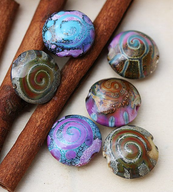 Handmade lampwork beads  glass beads lentil set  SRA  by MayaHoney