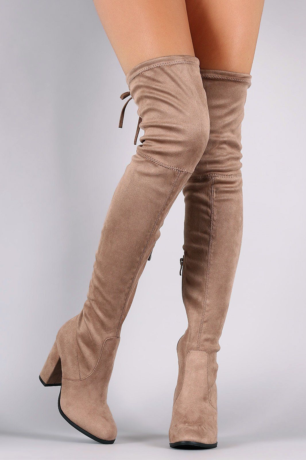 bfb1748b7277 Over-The-Knee Suede Almond Toe Self-Tie Back Boots