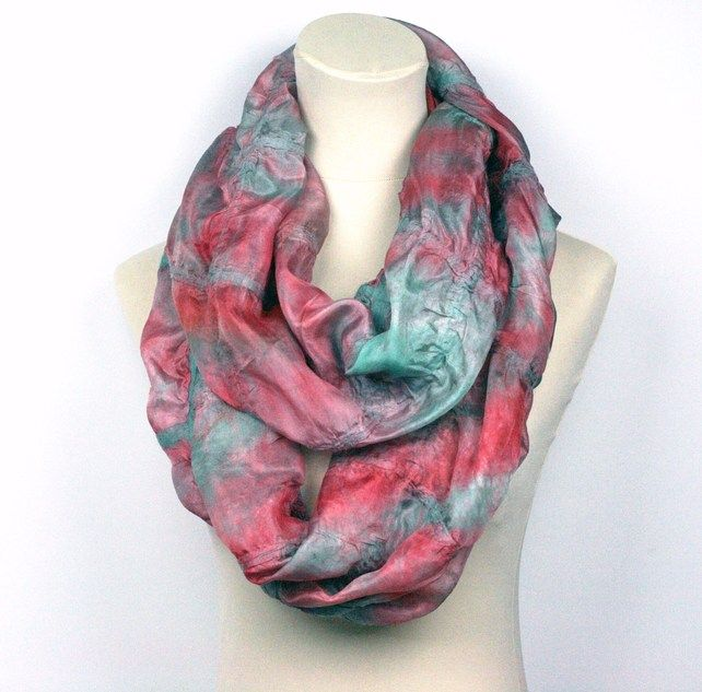 Nuno Felted Hand Dyed Infinity Silk Scarf - Duck Egg Blue, Mulberry Red from ZMFelt