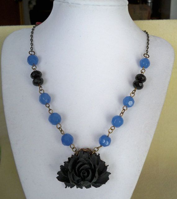 Fair Lady Black Rose and Blue Necklace by grandioseideas on Etsy, $52.00