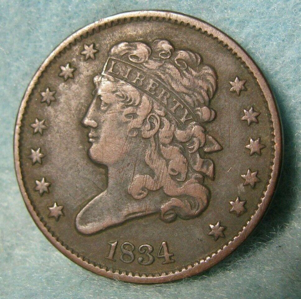 1834 classic head half cent high grade united states coin
