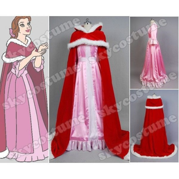 Beauty and The Beast Custom-made Red Adult Princess Belle Pink Dress For  Adult Women Christams Cloak Cosplay Costume