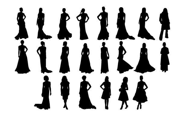 Трафарет девочки в платье