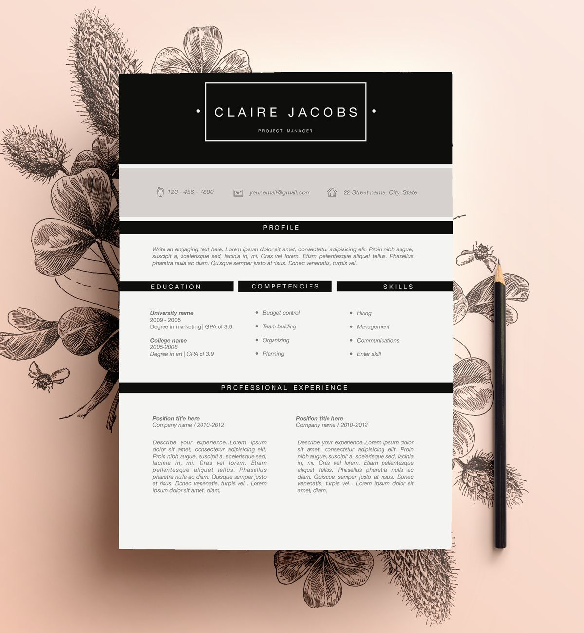 stylish resume template editable in ms word by cvdesign  you can find us on etsy