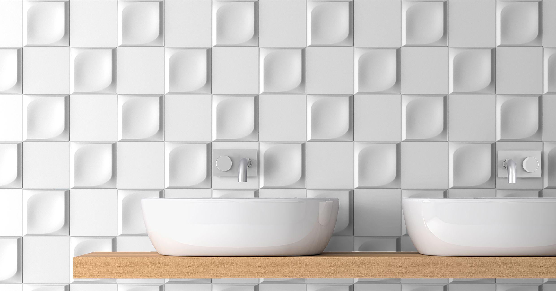 Ambient Ceramic Relief 4 92 X 4 92 In Colours White Ambiente Con Relieve Ceramico De 12 5 X 12 5 Cm En Colore Blanco Azulejos Texturas Modulares