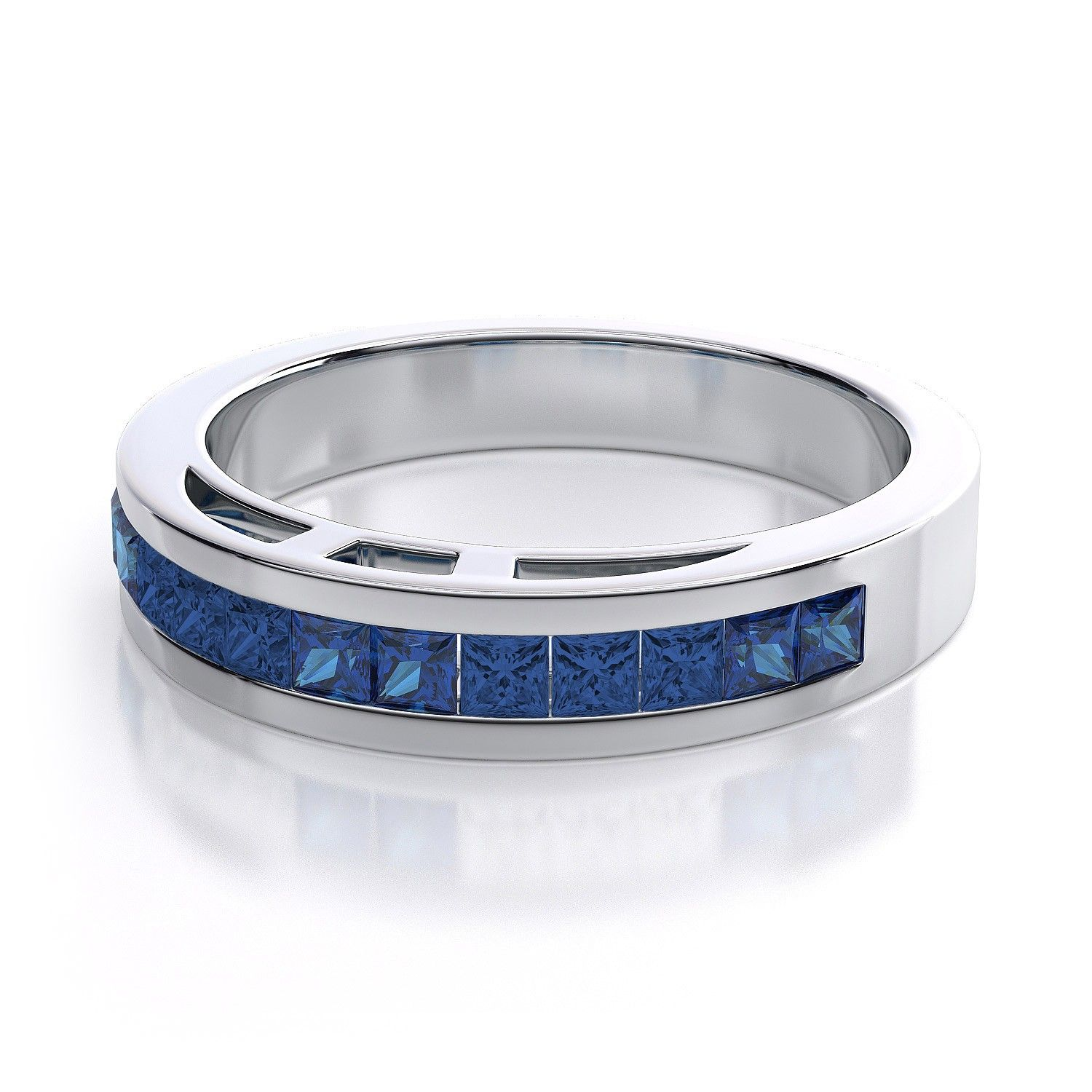 Sapphire Princess Cut Ring in 14k White Gold