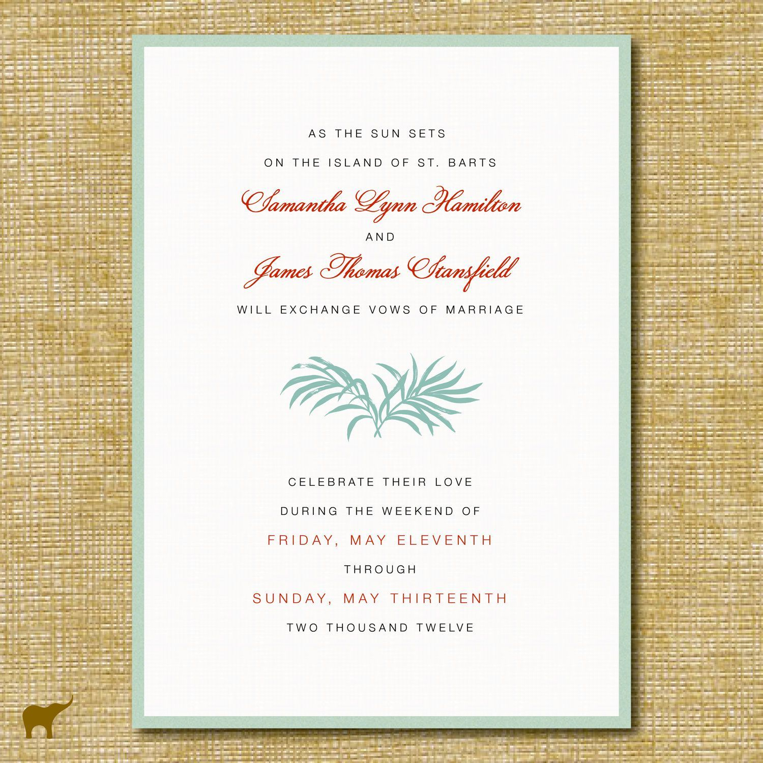 Post Beach Wedding Reception Invitations