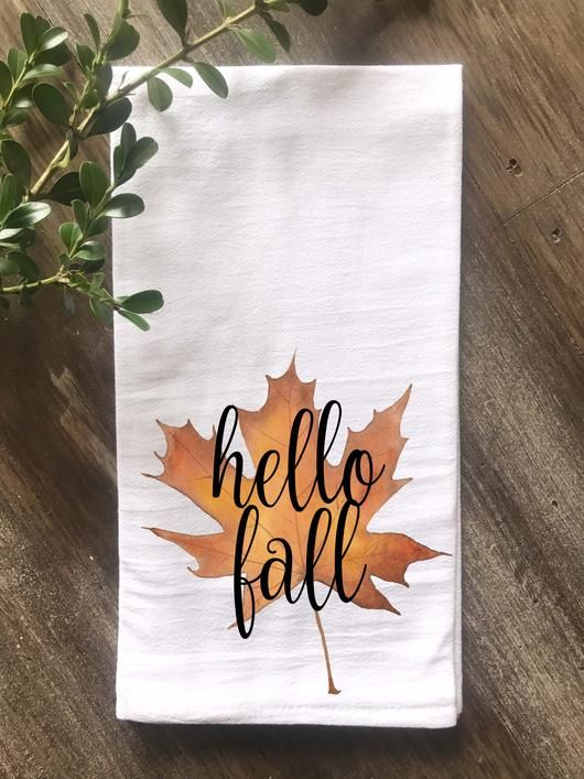 Hello Fall Watercolor Maple Leaf Flour Sack Tea Towel #hellofall