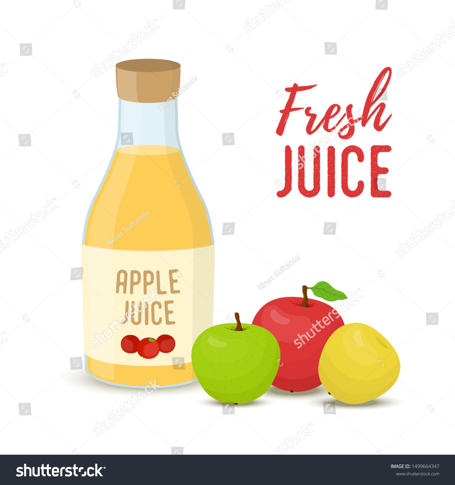 Vector apple juice set - glass bottle with whole fruits. Natural organic drink and food. Cartoon flat style #Sponsored , #sponsored, #glass#bottle#fruits#set