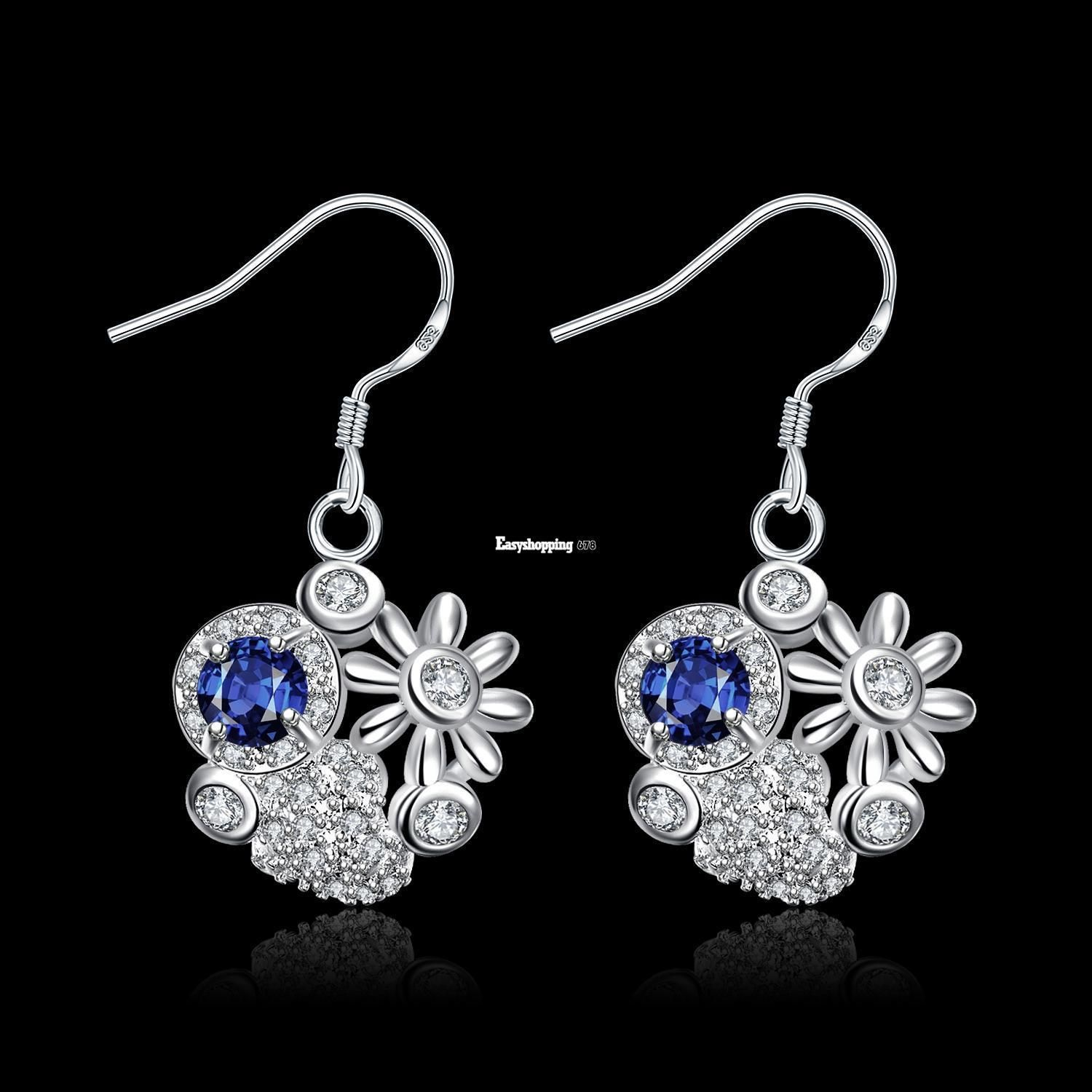 925 Silver Plated Earrings Ear Crystal Fashion Dangle Earring Gift For Women