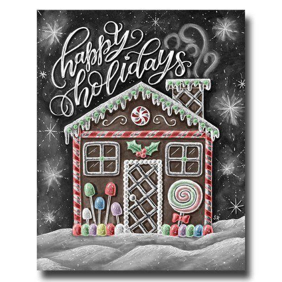 Peperkoek Decor, Happy Holidays teken, schoolbord kunst, krijt kunst, Kerstmis Print, vakantie Decor, Christmas kunst, peperkoek huis Art #christmaschalkboardartideas