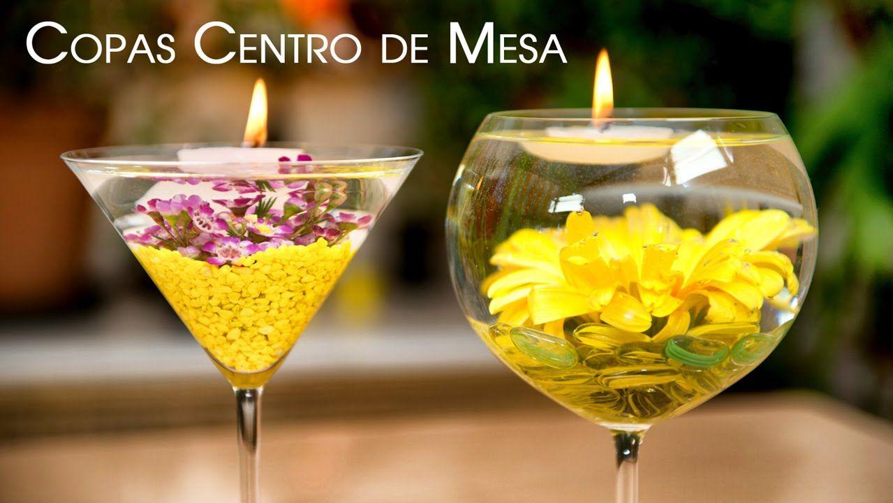 Centro de mesa copas con flores sumergidas y velas - Centros de mesa con velas ...