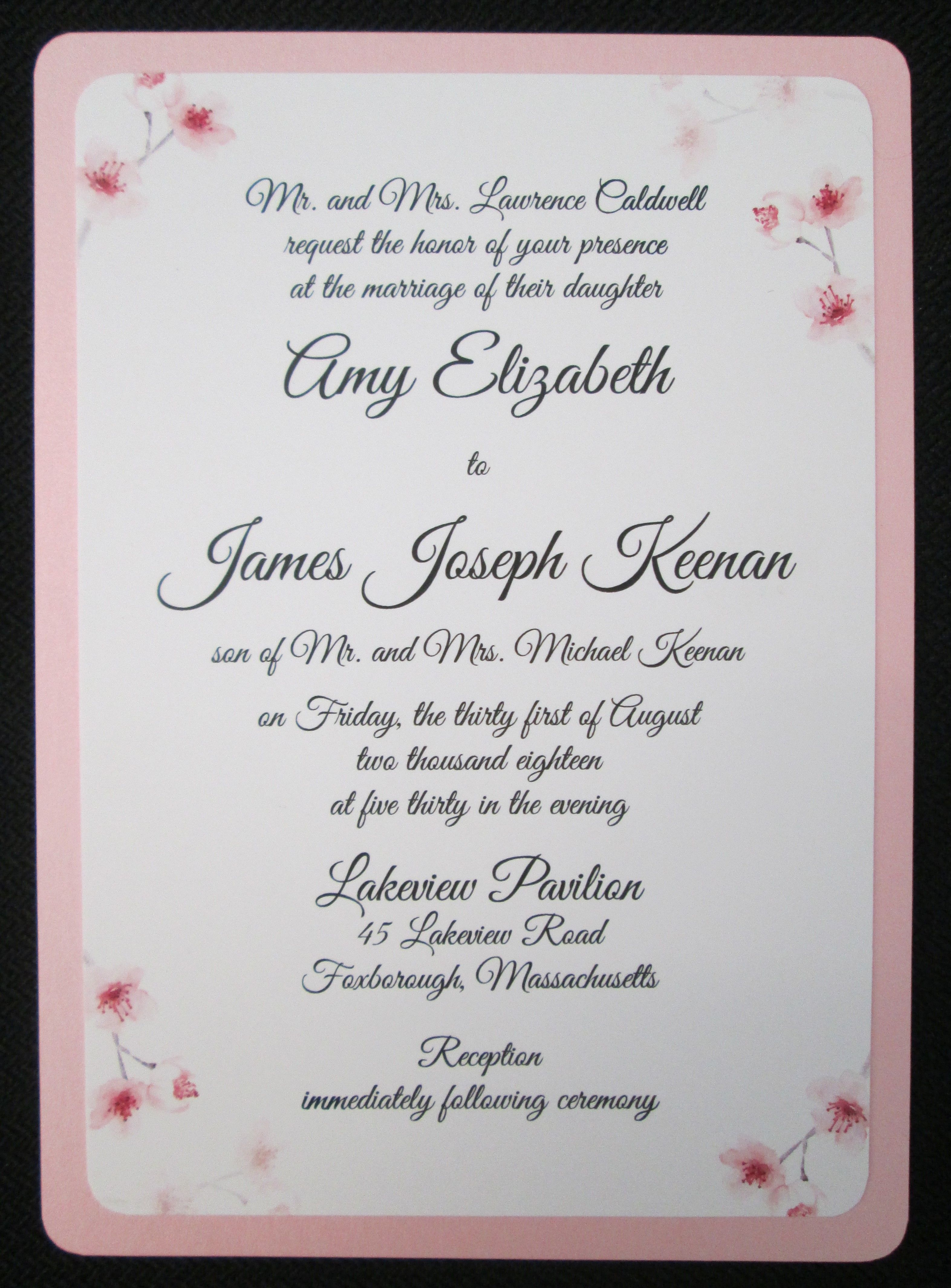layer invitation with flower design wedding invitations