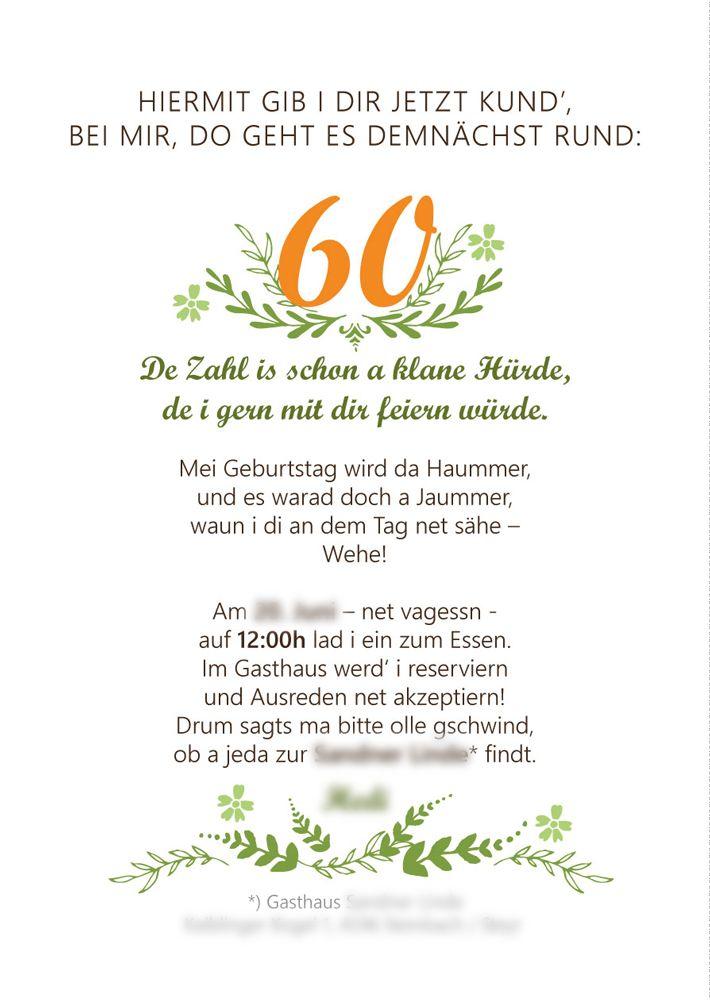 Einladungstext Geburtstag 90 In 2020 Einladung 60 Geburtstag