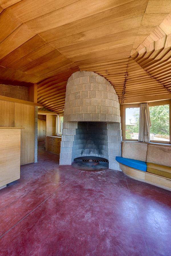 Master Bedroom Fireplace - David Wright House / 5212 East Exeter Boulevard, Phoenix Arizona / 1950-1952 / Usonian / Frank Lloyd Wright