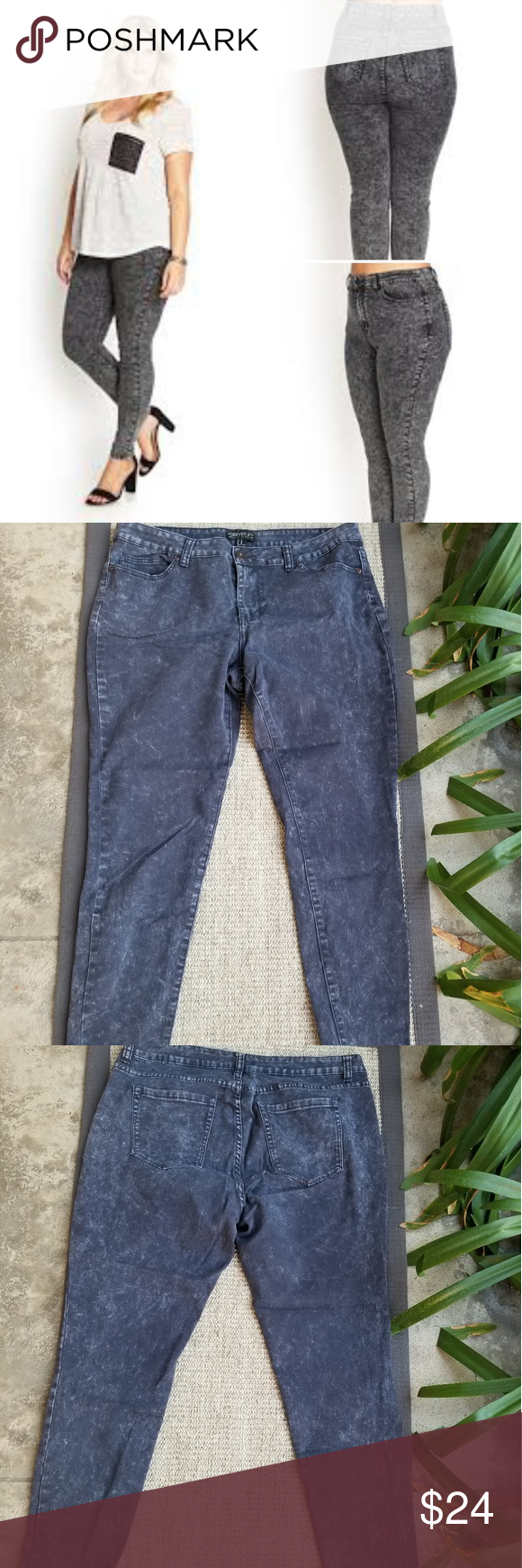 5aefca20ae Forever 21 + Plus Size black acid wash Jean sz.16 Forever 21+ Plus Size  high waist black acid wash skinny Jean s. Tag Size 16. Preloved. No stains  or holes.
