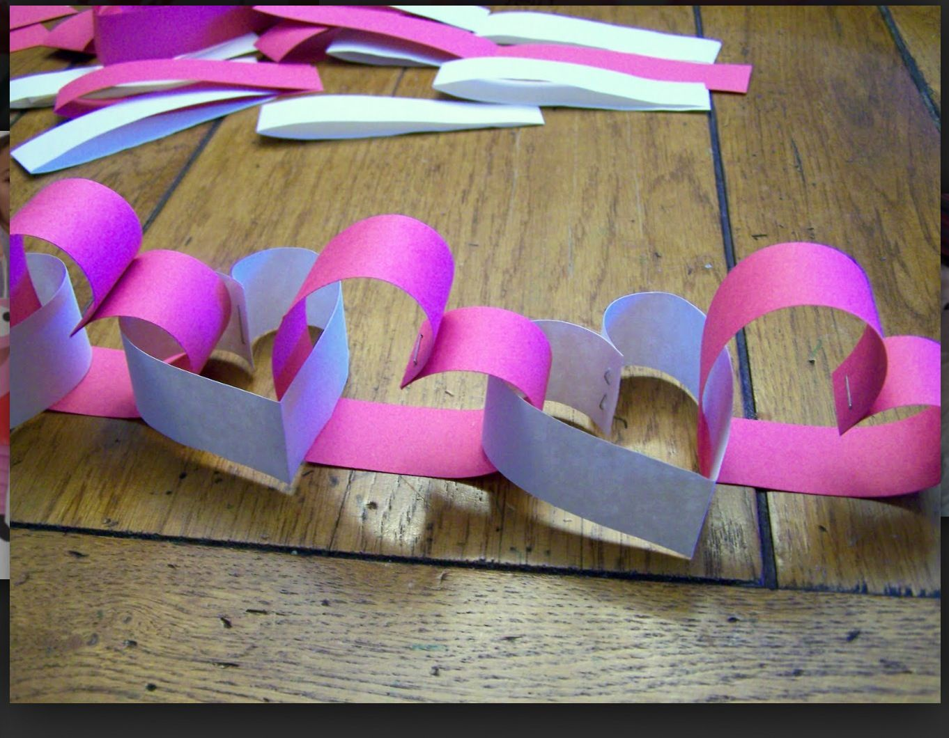 Paper heart chain. Use to demonstrate 70x7 forgiveness. Forgiveness = showing God's love to someone else, even if they don't deserve it.