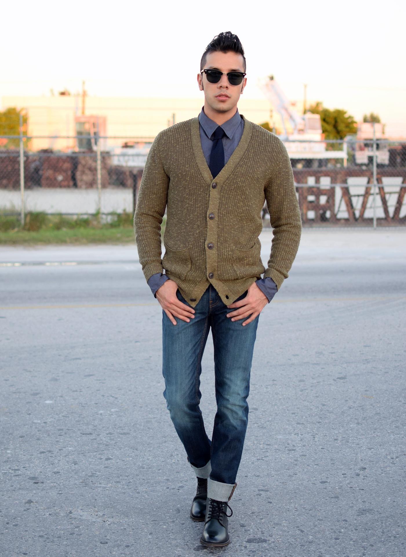 Men\'s Olive Cardigan, Navy Dress Shirt, Navy Jeans, Black Leather ...