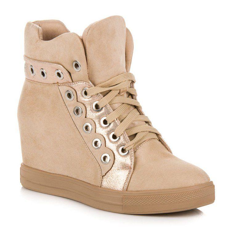 Seastar Bezowe Sneakersy Bezowy Wedge Sneaker High Top Sneakers Sneakers