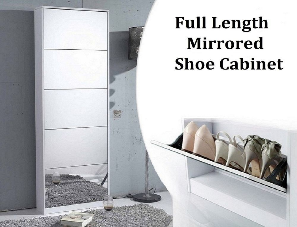 25 Pairs Full Length Mirrored Shoe Cabinet Shoe Rack With 5 Drawers Full  Mirror Part 68