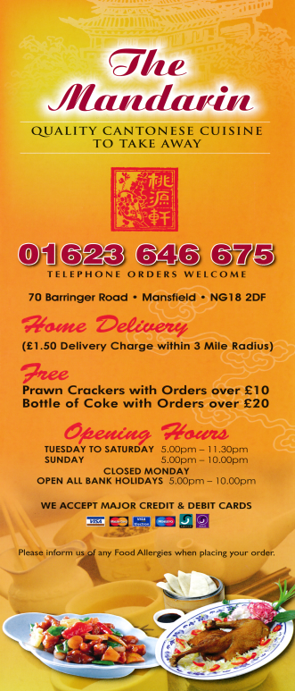 Menu For The Mandarin Chinese Takeaway On Barringer Road In Mansfield Chinese Takeaway Menu Chinese Takeaway Cantonese Cuisine