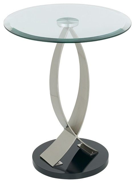 Glass Accent Tables Contemporary: Swoop Glass And Metal Round End Table  Contemporary Side Tables And